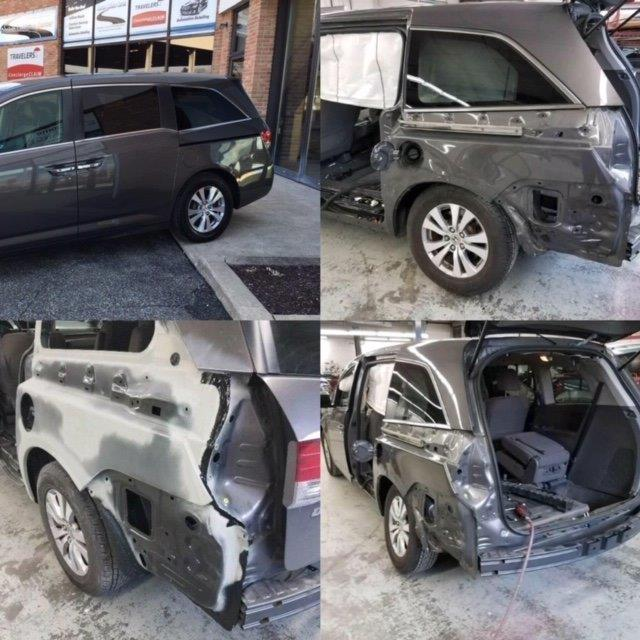 grey honda odyssey collision repair