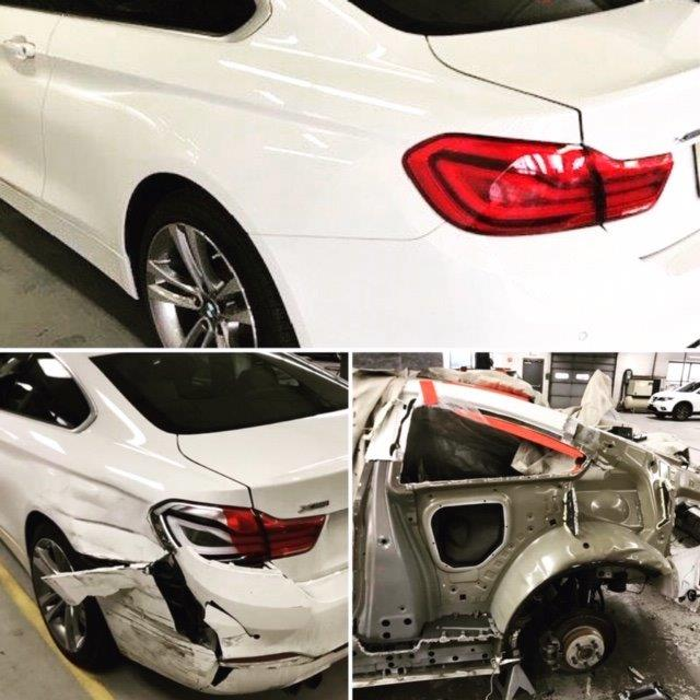 white BMW collision repair